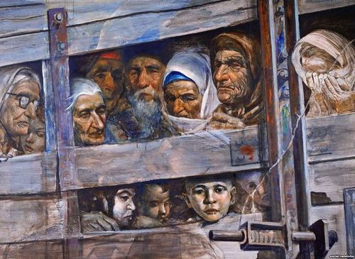 Painting of deported Tatars crammed into a wooden train truck