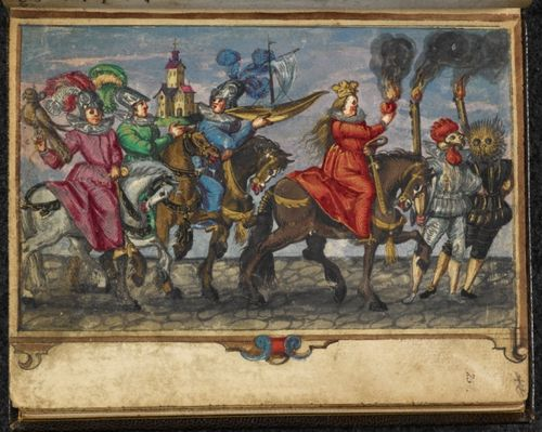 Painting of travelling players in costume and carrying torches and props