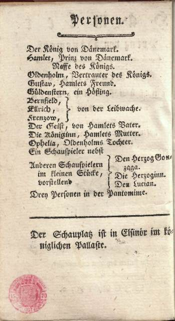 Cast list  from Heufeld's 1772 version of Hamlet