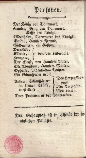 Heufeld Cast list 1772