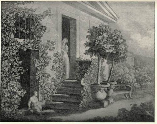 Picture of a woman and child at the top and bottom of a flight of steps in a garden