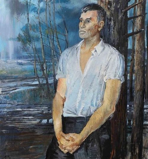 Painting of Boris Pasternak leaning against a tree
