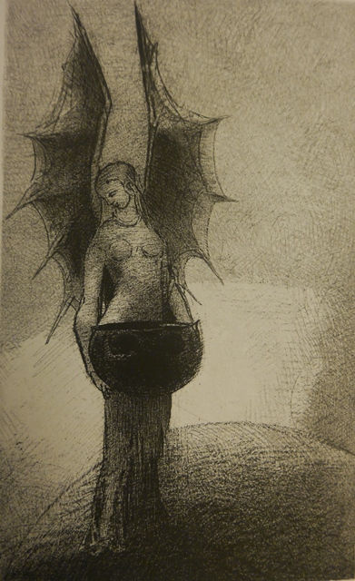 Black-and-white drawing of a bat-winged female figure holding a cauldron
