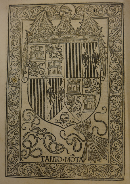 Woodcut coat of arms with various devices including the Yoke and Arrows