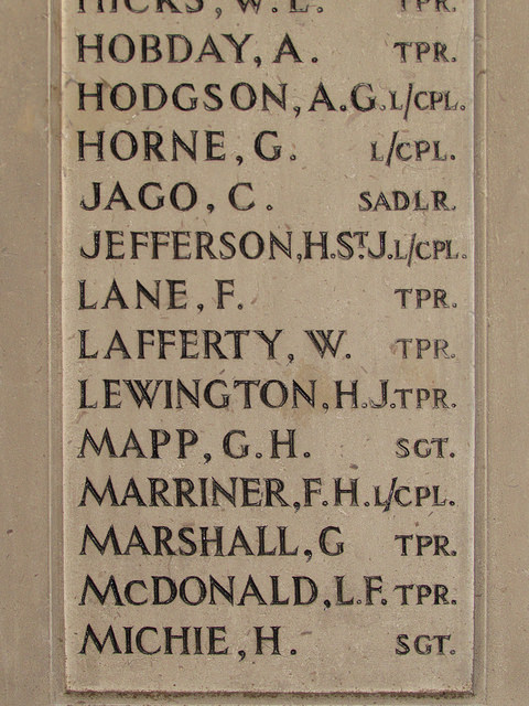 Michie's name on City of London Yeomanry war memorial in Priory Church of St Bartholomew the Great, Smithfield, London