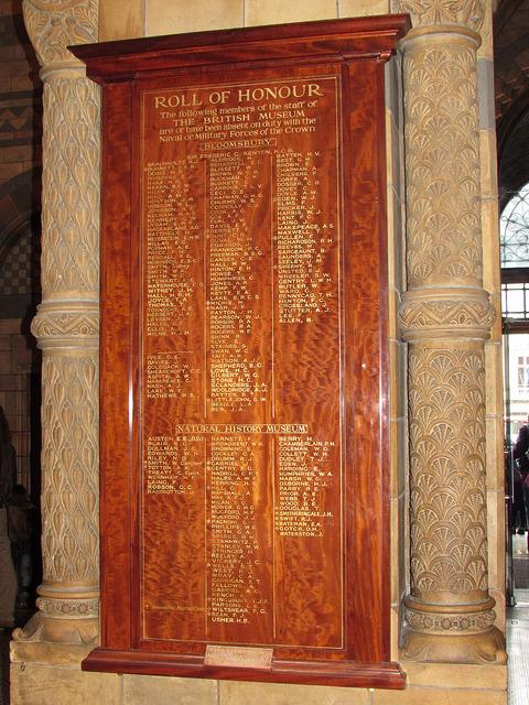 British Museum's roll of honour at the Natural History Museum, Kensington, London