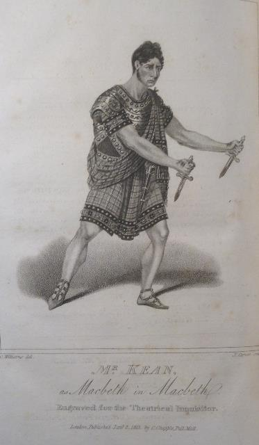 William Kean in character as  Macbeth, holding two daggers