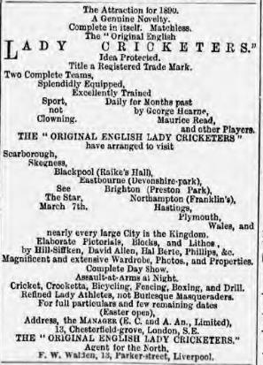 Advertisement for the tour of the Lady Cricketers