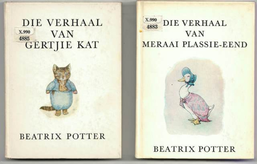 Covers of two of Beatrix Potter's stories in Afrikaans