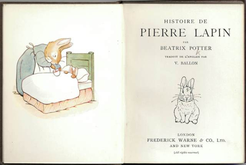Title-page of 'Histoire de Pierre Lapin' with Beatrix Potter's illustration of the sick Peter in bed