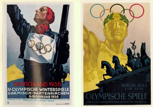 Posters advertising the Winter and Summer 1936 Olympic Games