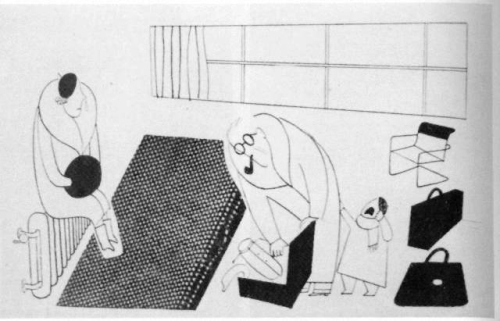 Cartoon of a family living out of suitcases in a sparsely-furnished modernist flat