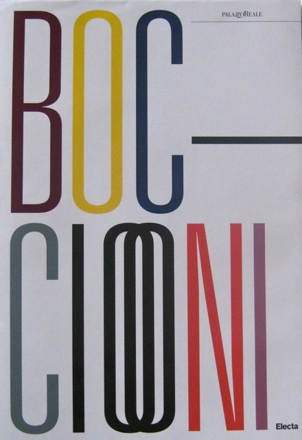 Cover of the catalogue 'Umberto Boccioni' with the name Boccioni in large coloured letters