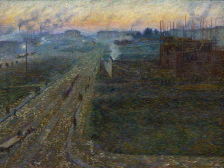 Painting of a landscape with building works at twilight