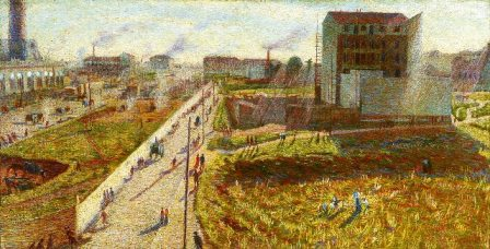 Painting of a suburban landscape with ongoing construction work