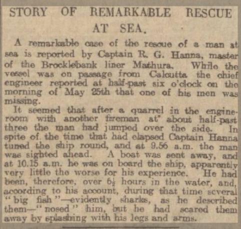 Newspaper report of rescue