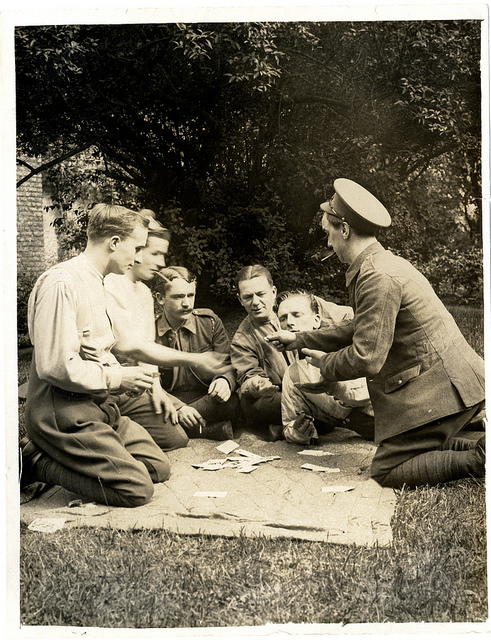 British soldiers playing card game France 1915
