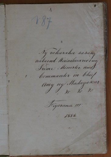 Inside cover page of the diary, showing neat handwriting.