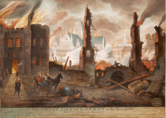 Scene of destruction caused by Fire of London