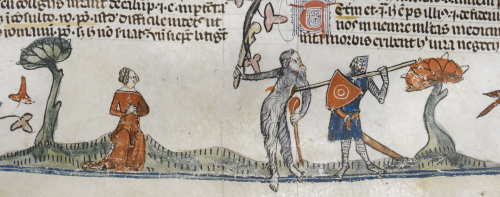 A marginal illustration of a wodewose being speared by a knight, from the Smithfield Decretals.