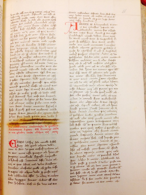 A mid-15th century manuscript of the Decameron with censored lines crossed out