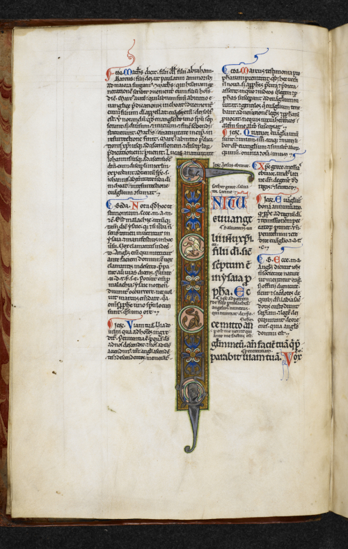 A page from a 12th-century manuscript of the Gospel of Mark, showing an illuminated initial I.
