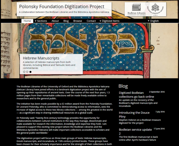 Website for the Polonsky Foundation Digitization Project
