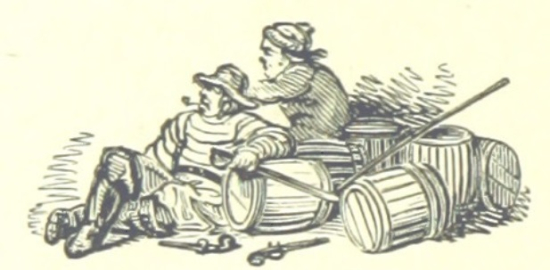 Smugglers sitting with their barrels