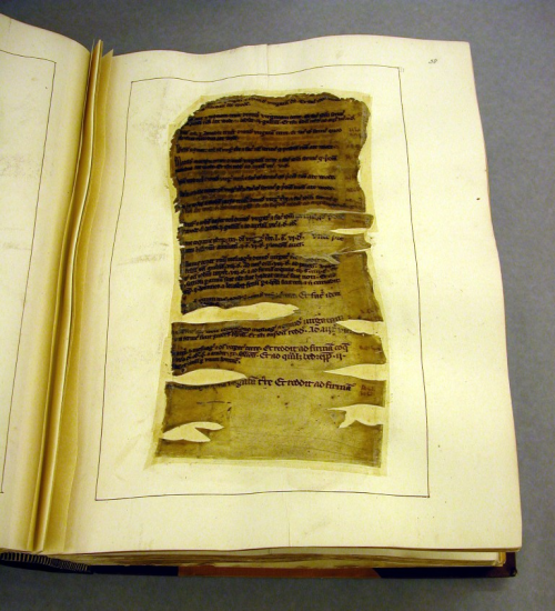 A page from one of the Cotton Manuscripts, damaged by fire and inlaid during restoration.