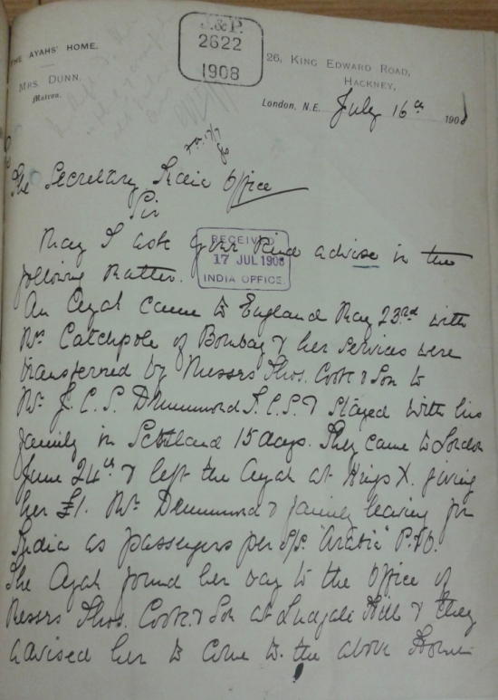 Sarah Annie Dunn's letter 16 July 1908