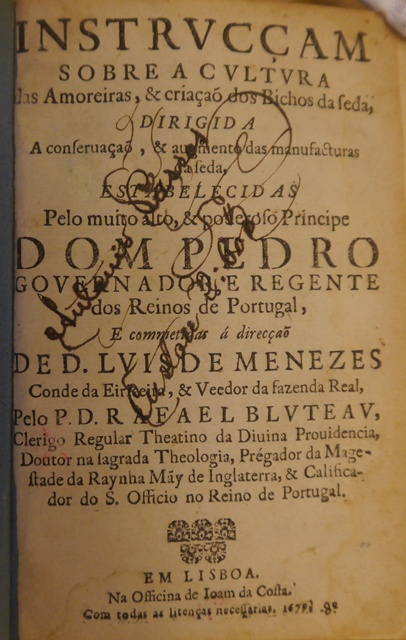 Title-page of 'Instrucçam sobre a cultura das amoreiras, & criaçaõ dos bichos de seda', with a handwritten inscription