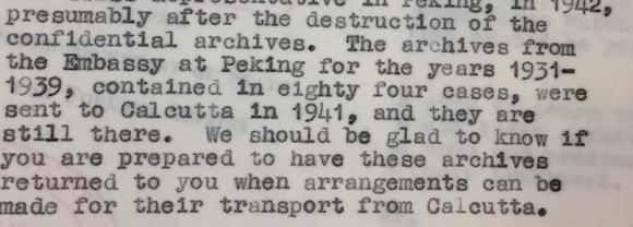 Note on the Peking Embassy archives