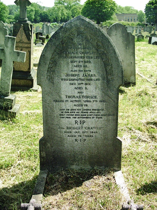 And older gravestone for the Crawley family surrounded by grass and other gravestones.