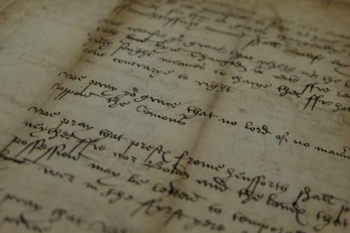 A detail from an Early Modern manuscript, showing the the text of the demands of Robert Kett.