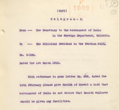 Telegram from the Government of India to the Political Resident dated 1 March 1912 asking the Resident to give 'a hint' to the Sheikh of Kuwait