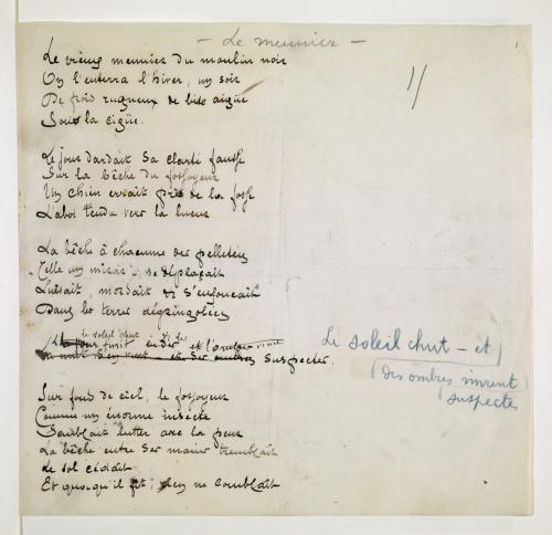 Manuscript of the poem 'Le meunier' with Verhaeren's working annotations