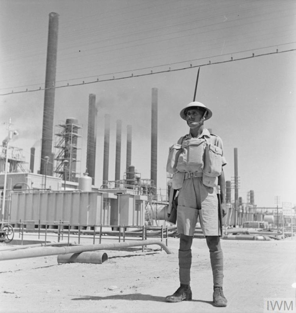 An Indian soldier guarding an Anglo-Iranian Oil Company refinery in Persia, 4 September 1941 - Image courtesy of Imperial War Museum Image courtesy of Imperial War Museum © IWM (E 5330)