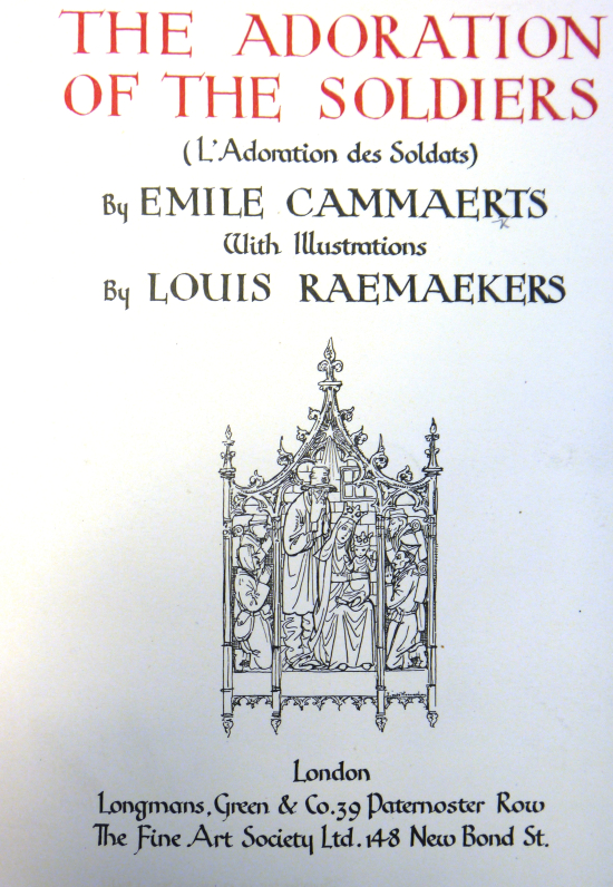 Title-page of 'L'adoration des soldats' with a nativity scene set in a mediaeval architectural frame