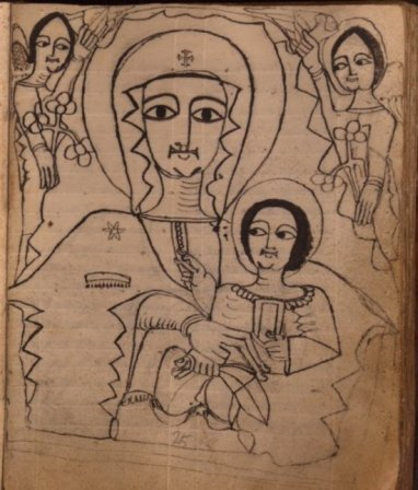 Ethiopic illustration depicting Madonna and Child.