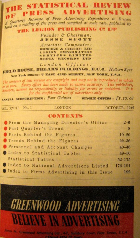 Contents page of The Statistical Review of Press Advertising October 1949