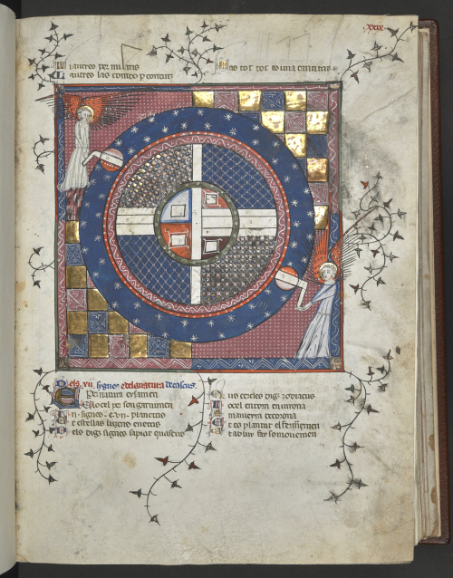 A page from a 14th-century manuscript, showing an illustration of two angels turning of the axes of the Earth.