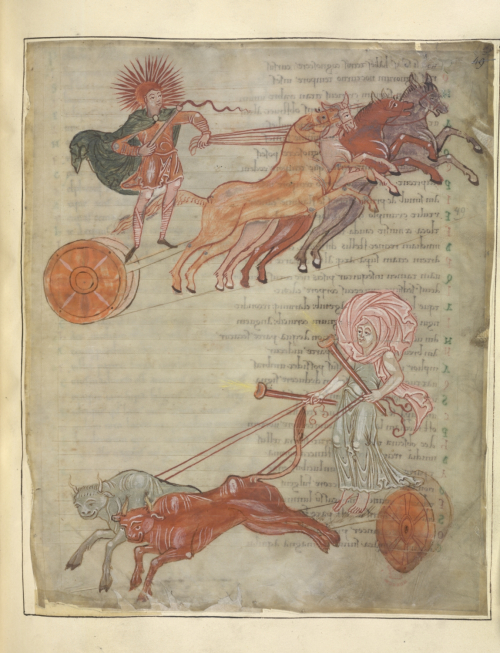 A page from an Anglo-Saxon miscellany, showing an illustration of the chariots of the sun and the moon.
