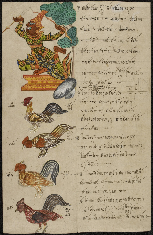 Page of a Thai Phrommachāt manuscript dealing with predictions for people born in the Year of the Rooster. Dated 1885 A.D. British Library, Or.3593, f.14