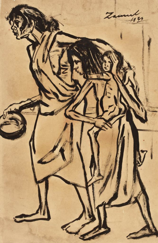 Representation of a family struck by the Bengal Famine of 1942 by Bangladeshi artist Zoinul Abedin