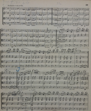 Schubert string quartet annotated by Mahler
