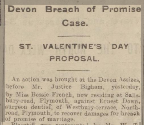 Breach of promise - newspaper article