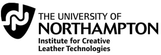 The Logo for the University of Northhampton. The image consists of the logo image itself, in a guitar pick-like shape, in black with white curved parallel lines inside. 'The University of Northampton' in large capitalised font and underneath in smaller lower case font is 'institute for Creative Leather Technologies' all on a white background.