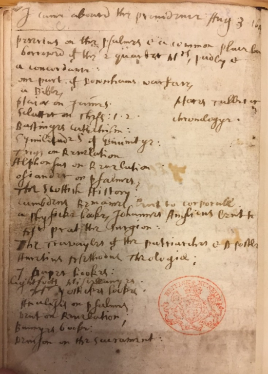 Syms Syms' list of a small collection of books he took with him