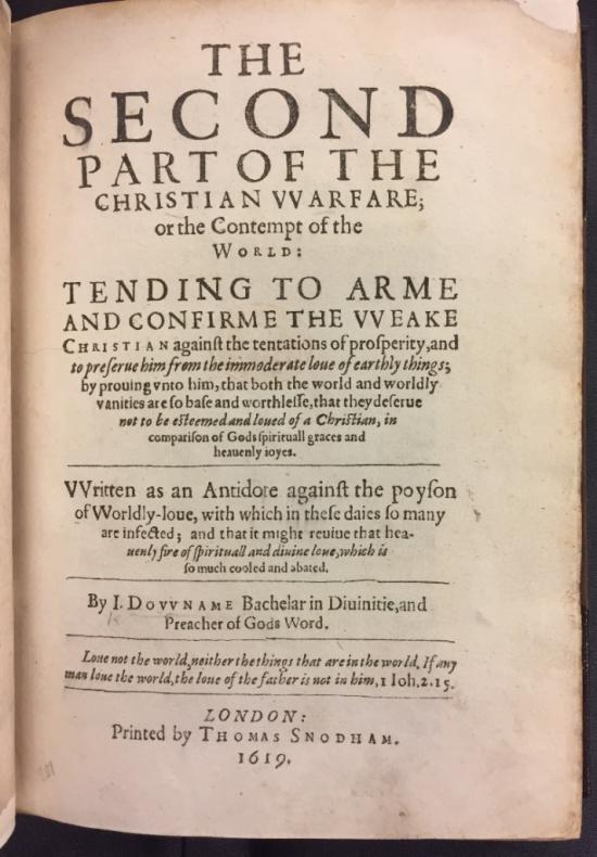Title page of John Downham's Christian Warfare