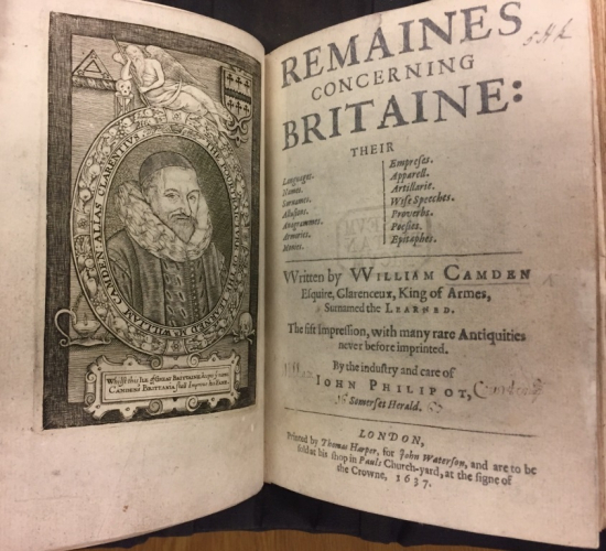 Title page of William Camden's Remaines